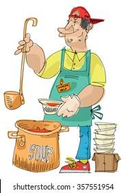 Feeding the homeless - soup kitchen - cartoon