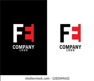 fe/ef Initial abstract company Logo Design with negative space. company logo template vector