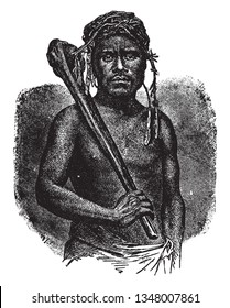 Feejee Cannibal is a member of the tribe of cannibals in Polynesia, vintage line drawing or engraving illustration.