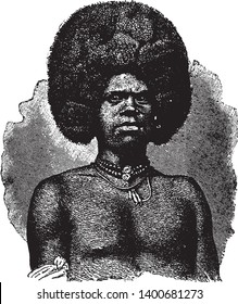 Feejee Chief is the leader of a tribe of cannibals in Polynesia, vintage line drawing or engraving illustration.