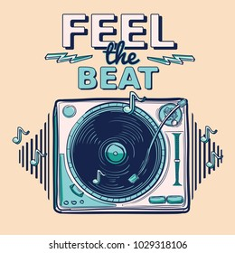 Feel the beat - funky decorative music design with turntable