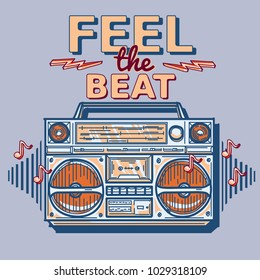 Feel the beat -  funky decorative music design with boom box
