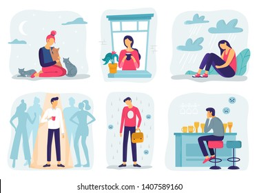 Feel lonely. Loneliness feelings, feeling isolated and fear of being alone vector illustration set