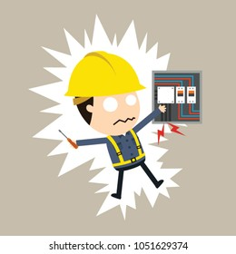 feel a shock, Vector illustration, Safety and accident, Industrial safety cartoon, Electric shock