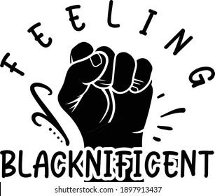 feeling blacknificent, Black Girls Vector File