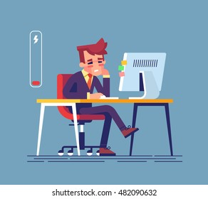 Feeling exhausted. Tired young man sitting at his working place with computer in office. Business concept.  Modern creative vector illustration.