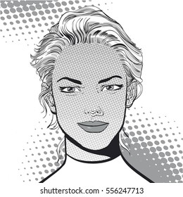 Feeling glad. Beautiful young woman. Woman having pleasure. Woman in a dream. Woman in hope. Having pleasure. Concept idea of advertisement and promo. Pop art  illustration. Halftone background.