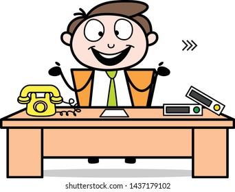 Feeling Happy After Join the Job - Office Businessman Employee Cartoon Vector Illustration