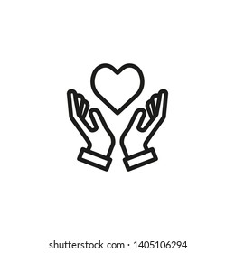 Feeling love line icon. Hands holding heart, care, support. Love concept. Vector illustration can be used for topics like friendship, charity, solidarity, protection