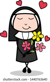 Feeling Loved with Flowers - Cartoon Nun Lady Vector Illustration