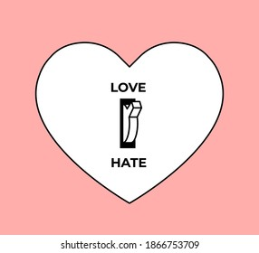 Feelings concept. Love or Hate choice. White heart silhouette with toggle switch between love and hate turned to love position. Minimalistic conceptual vector illustration