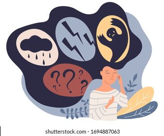 Feelings vector illustration. Behavior expression persons concept. Various emotions. Mood changes. PMS symptoms Anxiety or panic attack. Psychology, solitude, fear or mental health problems concept.