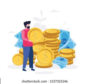 Fees and funding, Rich finance to earning currency, capital concept, money transfer, e-commerce, success economy accounting vector illustration. A lot of money coins