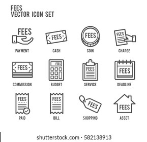 fees payment line vector icon set
