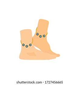 Feet with anklet icon vector illustration. Anklet icon, Jewelry and accessory. Women jewelry accessories.