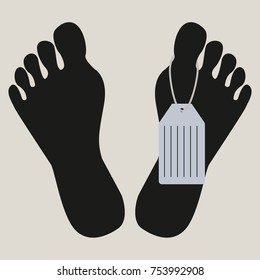 Feet with death tag. Dead man's body in morgue. Flat vector illustration