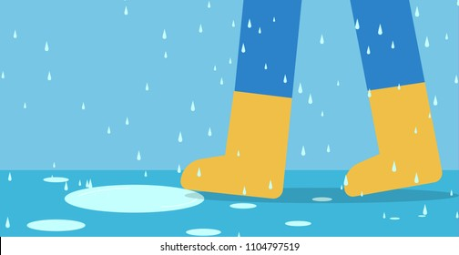 Feet of man in rain boots walk on road with rain, vector art