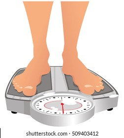 Feet on weighing scales.