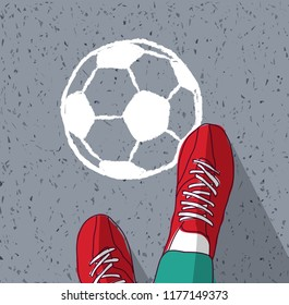 Feet young man top view soccer ball painted on asphalt