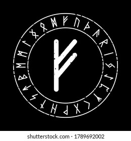 FEHU RUNE ON A BLACK BACKGROUND IN VECTOR