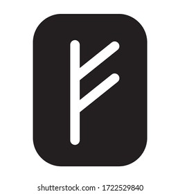 Fehu rune - the symbol or sign of wealth or livestock flat vector icon for games and websites