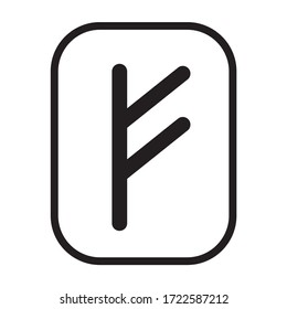 Fehu rune - the symbol or sign of wealth or livestock line art vector icon for games and websites