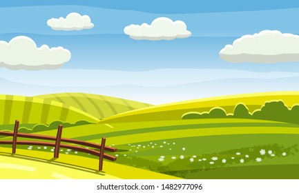 Felds and hills rural landscape. Cartoon countryside valley with green hills trees flowers blue sky and curly clouds. Vector nature horizon pasture view isolated background