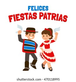 Felices Fiestas Patrias (spanish) - Happy independence Day in Chile, September 18. Cute cartoon children in national costumes dancing Cueca, traditional dance.