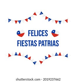 Felices Fiestas Patrias, spanish text for «Happy Independence Day» vector greeting card for national holiday of Chile. September 18.