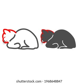 Feline distemper line and solid icon, Diseases of pets concept, Distemper of cat sign on white background, Feline plague icon in outline style for mobile concept and web design. Vector graphics.