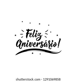 Feliz Aniversario. Lettering. Translation from Portuguese- Happy Birthday. Modern vector brush calligraphy. Ink illustration