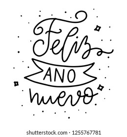 Feliz ano nuevo. Christmas hand drawn modern brush lettering. Christmas lettering typography for holiday greeting card.