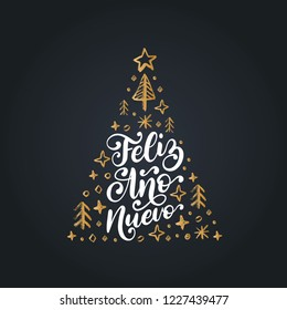 Feliz Ano Nuevo, handwritten phrase, translated from Spanish Happy New Year. Vector Christmas spruce illustration on black background.