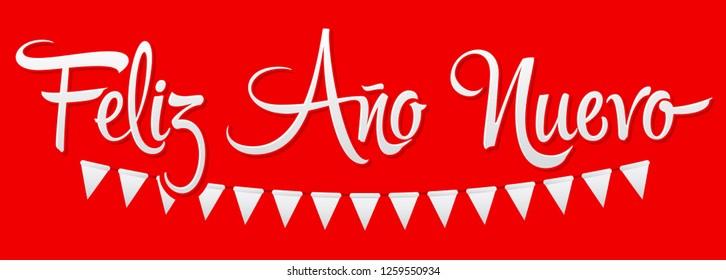 Feliz Ano Nuevo, Happy New Year spanish text, Vector Holiday Lettering design