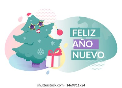 Feliz Ano Nuevo (Happy New Year) template. Happy anthropomorphic Christmas tree in a hat with place for text. Modern gradient shapes.