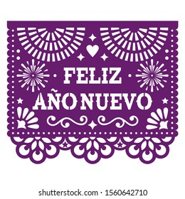 Feliz Ano Nuevo - Happy New Year in spanish Papel Picado vector design with, Mexican paper cut out style purple greeting card on white.    Traditional ornamental banner form Mexico, New Year's