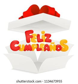 Feliz Cumpleanos - Happy Birthday in Spanish greeting card with opened box. Vector illustration
