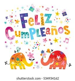 Feliz Cumpleanos - Happy Birthday in Spanish - greeting card with cute elephants