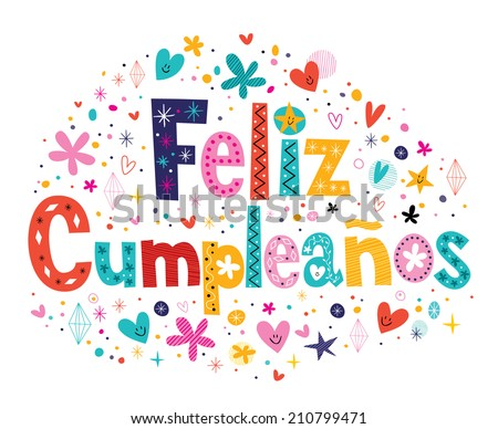 feliz cumpleanos happy birthday spanish text のベクター画像素材