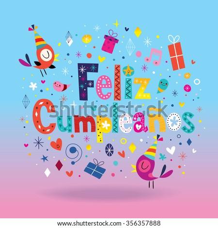 Feliz Cumpleanos Happy Birthday Spanish Card Stock Vektorgrafik