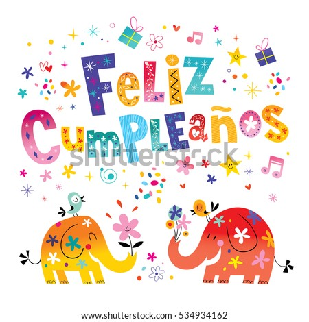 Feliz Cumpleanos Happy Birthday Spanish Greeting Stock Vektorgrafik