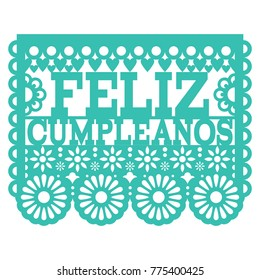 Feliz Cumpleanos Papel Picado vector design - Mexican folk art Happy Birthday party design, paper decoration with floral pattern.  Cut out paper template with flowers and abstract shapes, festive