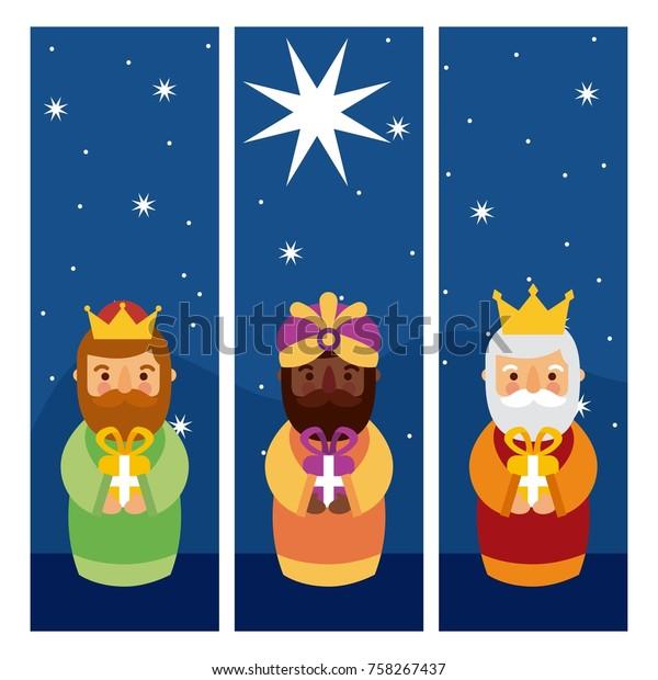 Feliz Dia De Los Reyes Three Stock Vektorgrafik Lizenzfrei 758267437