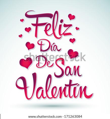Feliz Dia De San Valentin Happy Stock Vektorgrafik Lizenzfrei