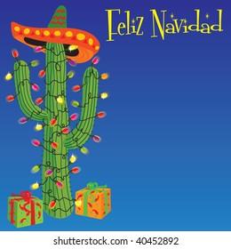 Feliz Navidad! Cactus wrapped with christmas lights and Sombrero
