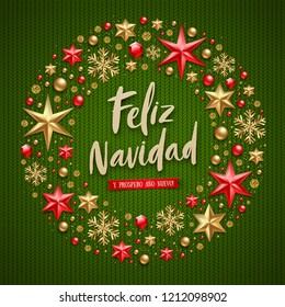 Feliz navidad - Christmas greetings in Spanish. Brush calligraphy holiday greeting and Christmas decoration on a knitted green background.