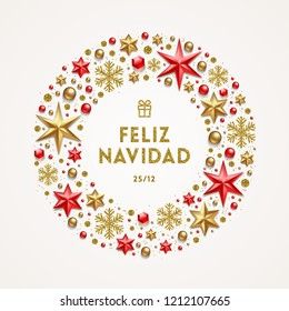 Feliz navidad - Christmas greetings in Spanish. Frame in the form of Christmas wreath made from stars, ruby gems, golden snowflakes, beads and glitter gold.