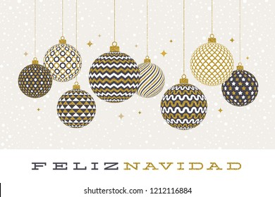 Feliz navidad - Christmas greetings in Spanish - patterned golden baubles on a white  background. Vector illustration.