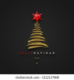 Feliz navidad - Christmas greetings in Spanish - abstract glitter gold christmas tree with red star. Vector illustration.