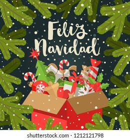 Feliz navidad - Christmas greetings in Spanish  - Calligraphy greeting and cardboard box with Christmas gifts on a fir branches background. Vector illustration.